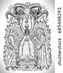 occult drawing with human... | Shutterstock .eps vector #685448293