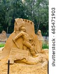 "Small photo of Sokolniki, MOSCOW, RUSSIA - August 2, 2015: ""From time immemorial"". Russian exhibition of sand sculptures. The composition of ""Ancient Rome"". Author Sergey Knish."