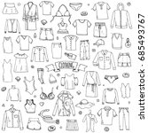 hand drawn doodle clothing... | Shutterstock .eps vector #685493767
