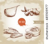 hand drawn sketch spices set.... | Shutterstock .eps vector #685505977