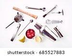cocktail bar utensils with... | Shutterstock . vector #685527883