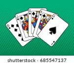 winning combination of cards... | Shutterstock .eps vector #685547137