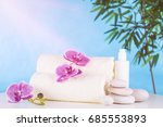 spa. white towels  stones and... | Shutterstock . vector #685553893