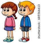 boy and girl with happy face... | Shutterstock .eps vector #685566613