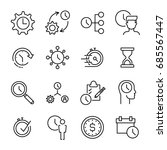set of 16 time management thin... | Shutterstock .eps vector #685567447