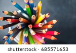 color pencils on chalkboard... | Shutterstock . vector #685571653
