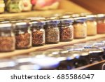various spices small glass jars.   Shutterstock . vector #685586047