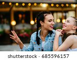 two cute girlfriends with... | Shutterstock . vector #685596157