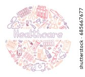 hand drawn medical doodle.... | Shutterstock .eps vector #685667677