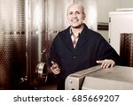 cheerful mature man in uniform... | Shutterstock . vector #685669207