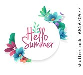 round banner with the  hello... | Shutterstock . vector #685670977