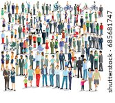 large group of people standing... | Shutterstock . vector #685681747