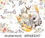cute family baby fox  deer... | Shutterstock . vector #685683247