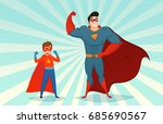 man and boy superheroes in mask ... | Shutterstock .eps vector #685690567