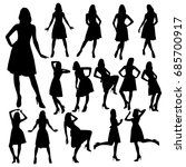 many silhouettes of slim girls... | Shutterstock .eps vector #685700917