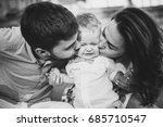 black and white portrait. young ... | Shutterstock . vector #685710547