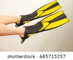 woman with flippers having fun... | Shutterstock . vector #685715257
