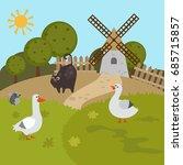 Cartoon Landscape With Farm...