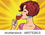 woman drinking red wine. pop... | Shutterstock .eps vector #685732813