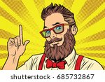 bearded hipster man portrait... | Shutterstock .eps vector #685732867