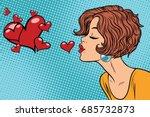 woman making a kiss heart. pop... | Shutterstock .eps vector #685732873