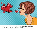 Woman Making A Kiss Heart. Pop...
