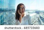 happy businesswoman standing in ... | Shutterstock . vector #685733683