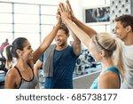 smiling men and women doing... | Shutterstock . vector #685738177