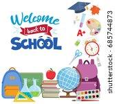set of different school... | Shutterstock .eps vector #685744873