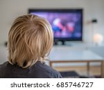 a little boy watching tv at... | Shutterstock . vector #685746727