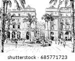 spain. barcelona. king's square.... | Shutterstock .eps vector #685771723