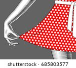 woman's hand pull the edge of... | Shutterstock . vector #685803577