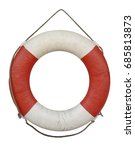 old lifebuoy isolated on white... | Shutterstock . vector #685813873