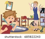 mom and problem child at messy... | Shutterstock .eps vector #685822243