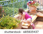 young girl curiously looking at ... | Shutterstock . vector #685835437