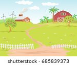 background farm in the... | Shutterstock .eps vector #685839373