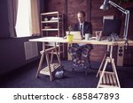 freelancer at working place at...   Shutterstock . vector #685847893