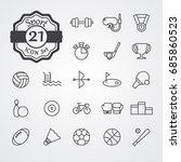 sport icon set outline vector... | Shutterstock .eps vector #685860523
