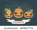 halloween holidays hand drawn... | Shutterstock .eps vector #685867753