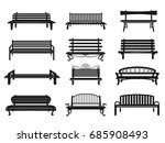 park bench black set. comfy... | Shutterstock .eps vector #685908493