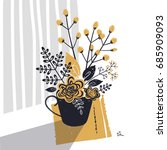 cute bouquet of flowers and... | Shutterstock .eps vector #685909093