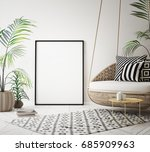 mock up poster frame in... | Shutterstock . vector #685909963