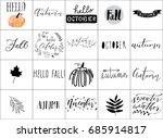 hand lettering autumn logos  | Shutterstock .eps vector #685914817