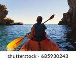 girl is kayaking on the... | Shutterstock . vector #685930243