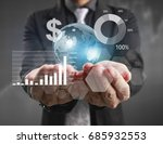 businessman with financial... | Shutterstock . vector #685932553