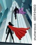 super heroine facing... | Shutterstock .eps vector #685934833
