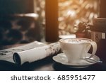 hot coffee for morning work or... | Shutterstock . vector #685951477
