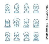 set people head with hairstyle... | Shutterstock .eps vector #686000983