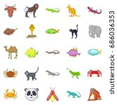 animals of the jungle icons set.... | Shutterstock .eps vector #686036353