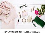 fashion. trendy sweater ... | Shutterstock . vector #686048623